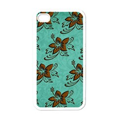 Chocolate Background Floral Pattern Apple Iphone 4 Case (white) by Nexatart