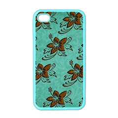 Chocolate Background Floral Pattern Apple Iphone 4 Case (color)