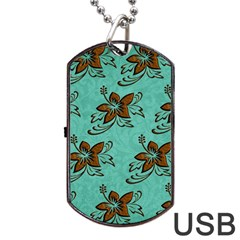 Chocolate Background Floral Pattern Dog Tag Usb Flash (two Sides) by Nexatart