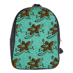 Chocolate Background Floral Pattern School Bag (xl)