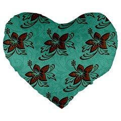 Chocolate Background Floral Pattern Large 19  Premium Heart Shape Cushions