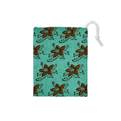 Chocolate Background Floral Pattern Drawstring Pouches (small)  by Nexatart