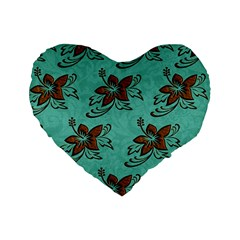 Chocolate Background Floral Pattern Standard 16  Premium Flano Heart Shape Cushions by Nexatart