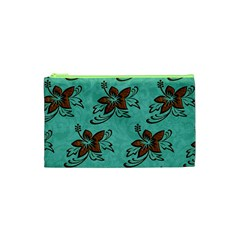 Chocolate Background Floral Pattern Cosmetic Bag (xs)