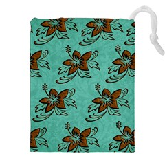 Chocolate Background Floral Pattern Drawstring Pouches (xxl)