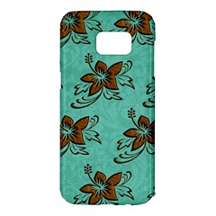 Chocolate Background Floral Pattern Samsung Galaxy S7 Edge Hardshell Case by Nexatart