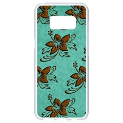 Chocolate Background Floral Pattern Samsung Galaxy S8 White Seamless Case