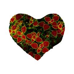 Flower Red Nature Garden Natural Standard 16  Premium Heart Shape Cushions