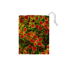 Flower Red Nature Garden Natural Drawstring Pouches (small)