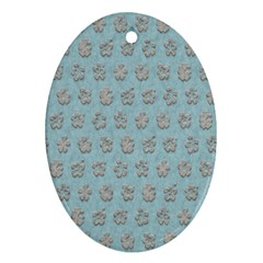 Texture Background Beige Grey Blue Ornament (oval)
