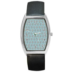 Texture Background Beige Grey Blue Barrel Style Metal Watch by Nexatart
