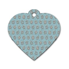 Texture Background Beige Grey Blue Dog Tag Heart (two Sides)
