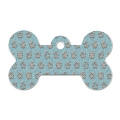 Texture Background Beige Grey Blue Dog Tag Bone (two Sides)