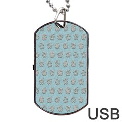Texture Background Beige Grey Blue Dog Tag Usb Flash (two Sides)
