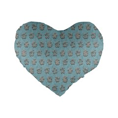 Texture Background Beige Grey Blue Standard 16  Premium Flano Heart Shape Cushions