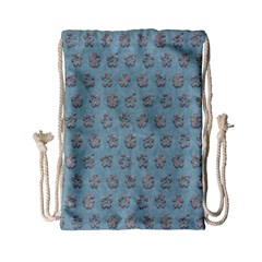 Texture Background Beige Grey Blue Drawstring Bag (small)
