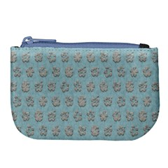 Texture Background Beige Grey Blue Large Coin Purse