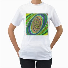 Ellipse Background Elliptical Women s T-Shirt (White) (Two Sided)