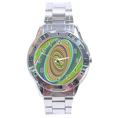 Ellipse Background Elliptical Stainless Steel Analogue Watch