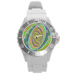 Ellipse Background Elliptical Round Plastic Sport Watch (l)