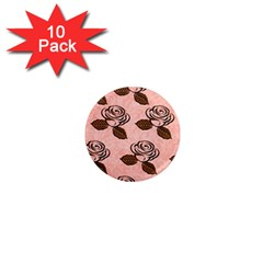 Chocolate Background Floral Pattern 1  Mini Magnet (10 Pack)