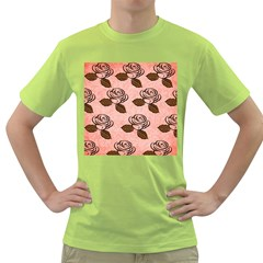 Chocolate Background Floral Pattern Green T Shirt