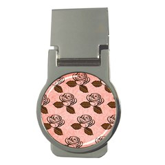 Chocolate Background Floral Pattern Money Clips (round)
