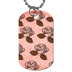 Chocolate Background Floral Pattern Dog Tag (one Side)
