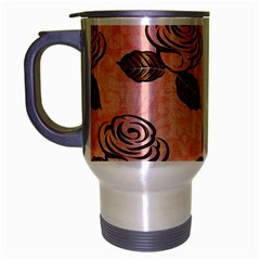 Chocolate Background Floral Pattern Travel Mug (silver Gray) by Nexatart