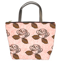 Chocolate Background Floral Pattern Bucket Bags