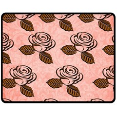 Chocolate Background Floral Pattern Fleece Blanket (medium)