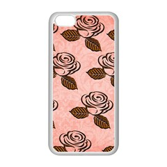 Chocolate Background Floral Pattern Apple Iphone 5c Seamless Case (white) by Nexatart