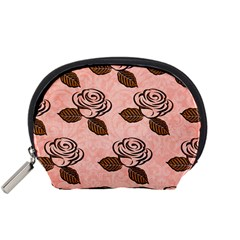Chocolate Background Floral Pattern Accessory Pouches (small)  by Nexatart