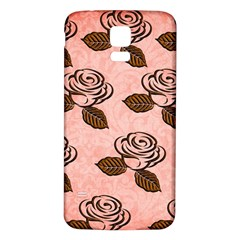 Chocolate Background Floral Pattern Samsung Galaxy S5 Back Case (white)