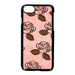 Chocolate Background Floral Pattern Apple Iphone 7 Seamless Case (black) by Nexatart