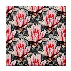 Water Lily Background Pattern Tile Coasters by Nexatart