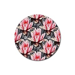 Water Lily Background Pattern Rubber Coaster (round)  by Nexatart