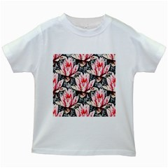 Water Lily Background Pattern Kids White T Shirts