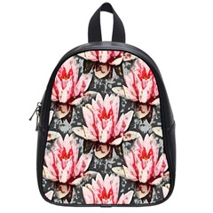 Water Lily Background Pattern School Bag (small)