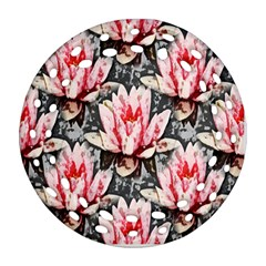 Water Lily Background Pattern Round Filigree Ornament (two Sides)