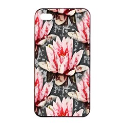 Water Lily Background Pattern Apple Iphone 4/4s Seamless Case (black) by Nexatart