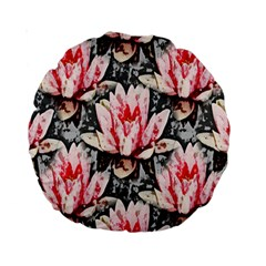 Water Lily Background Pattern Standard 15  Premium Round Cushions