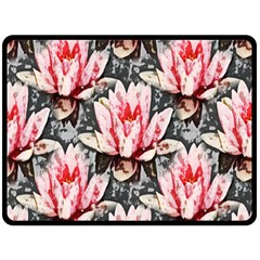 Water Lily Background Pattern Double Sided Fleece Blanket (large)
