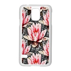 Water Lily Background Pattern Samsung Galaxy S5 Case (white) by Nexatart