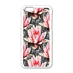 Water Lily Background Pattern Apple Iphone 6/6s White Enamel Case