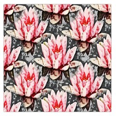 Water Lily Background Pattern Large Satin Scarf (square)