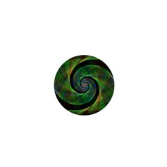 Green Spiral Fractal Wired 1  Mini Buttons by Nexatart