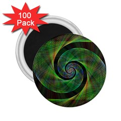 Green Spiral Fractal Wired 2 25  Magnets (100 Pack)