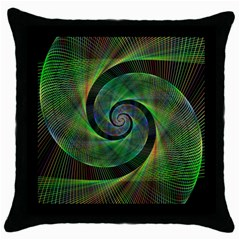 Green Spiral Fractal Wired Throw Pillow Case (black) by Nexatart