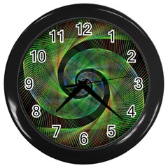 Green Spiral Fractal Wired Wall Clocks (black) by Nexatart